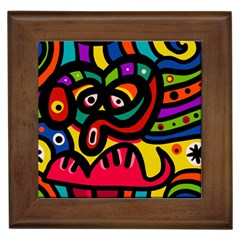 A Seamless Crazy Face Doodle Pattern Framed Tiles