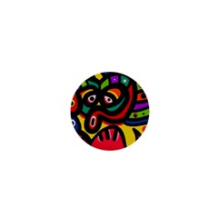 A Seamless Crazy Face Doodle Pattern 1  Mini Buttons