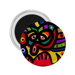 A Seamless Crazy Face Doodle Pattern 2 25  Magnets