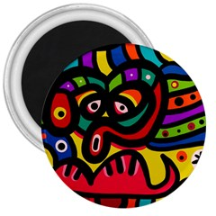 A Seamless Crazy Face Doodle Pattern 3  Magnets
