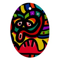 A Seamless Crazy Face Doodle Pattern Ornament (Oval)