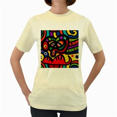 A Seamless Crazy Face Doodle Pattern Women s Yellow T-Shirt