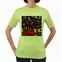 A Seamless Crazy Face Doodle Pattern Women s Green T Shirt