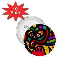 A Seamless Crazy Face Doodle Pattern 1 75  Buttons (10 Pack)