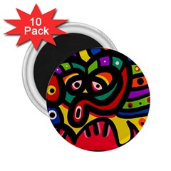 A Seamless Crazy Face Doodle Pattern 2 25  Magnets (10 Pack)