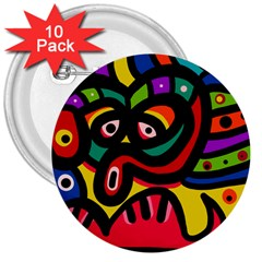 A Seamless Crazy Face Doodle Pattern 3  Buttons (10 Pack)