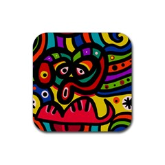 A Seamless Crazy Face Doodle Pattern Rubber Square Coaster (4 Pack)