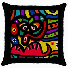 A Seamless Crazy Face Doodle Pattern Throw Pillow Case (black)