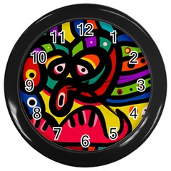 A Seamless Crazy Face Doodle Pattern Wall Clocks (black)
