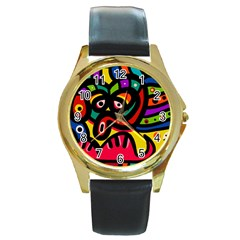 A Seamless Crazy Face Doodle Pattern Round Gold Metal Watch