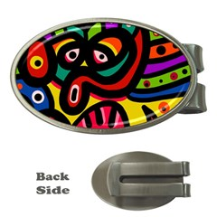 A Seamless Crazy Face Doodle Pattern Money Clips (Oval)