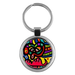 A Seamless Crazy Face Doodle Pattern Key Chains (round)