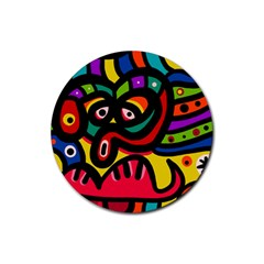 A Seamless Crazy Face Doodle Pattern Rubber Round Coaster (4 pack)