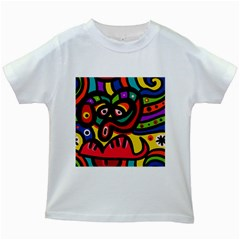 A Seamless Crazy Face Doodle Pattern Kids White T-Shirts
