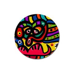 A Seamless Crazy Face Doodle Pattern Magnet 3  (Round)