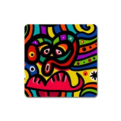 A Seamless Crazy Face Doodle Pattern Square Magnet