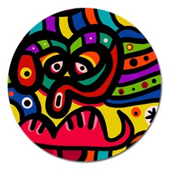 A Seamless Crazy Face Doodle Pattern Magnet 5  (round)