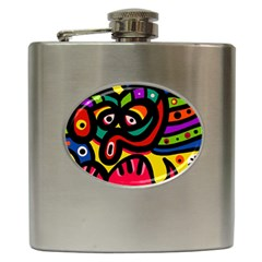 A Seamless Crazy Face Doodle Pattern Hip Flask (6 Oz)