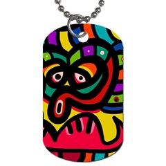 A Seamless Crazy Face Doodle Pattern Dog Tag (two Sides)