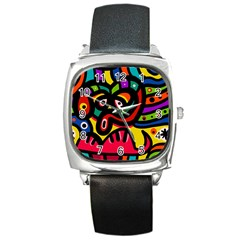 A Seamless Crazy Face Doodle Pattern Square Metal Watch