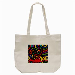 A Seamless Crazy Face Doodle Pattern Tote Bag (cream)