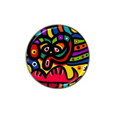 A Seamless Crazy Face Doodle Pattern Hat Clip Ball Marker (4 Pack)