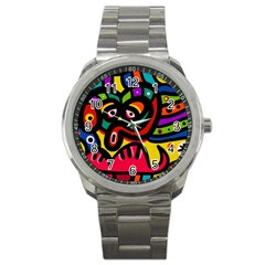 A Seamless Crazy Face Doodle Pattern Sport Metal Watch