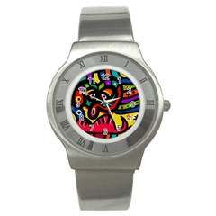 A Seamless Crazy Face Doodle Pattern Stainless Steel Watch