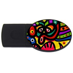 A Seamless Crazy Face Doodle Pattern Usb Flash Drive Oval (4 Gb)