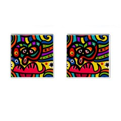 A Seamless Crazy Face Doodle Pattern Cufflinks (square)