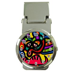 A Seamless Crazy Face Doodle Pattern Money Clip Watches