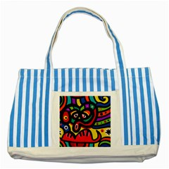 A Seamless Crazy Face Doodle Pattern Striped Blue Tote Bag