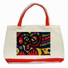 A Seamless Crazy Face Doodle Pattern Classic Tote Bag (red)