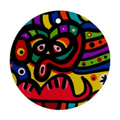 A Seamless Crazy Face Doodle Pattern Round Ornament (two Sides)
