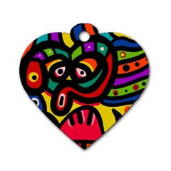 A Seamless Crazy Face Doodle Pattern Dog Tag Heart (two Sides)