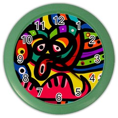 A Seamless Crazy Face Doodle Pattern Color Wall Clocks