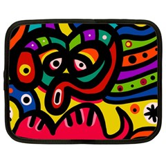 A Seamless Crazy Face Doodle Pattern Netbook Case (large)