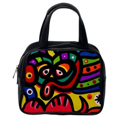 A Seamless Crazy Face Doodle Pattern Classic Handbags (One Side)