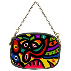 A Seamless Crazy Face Doodle Pattern Chain Purses (Two Sides)