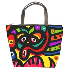 A Seamless Crazy Face Doodle Pattern Bucket Bags