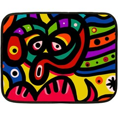 A Seamless Crazy Face Doodle Pattern Double Sided Fleece Blanket (mini)
