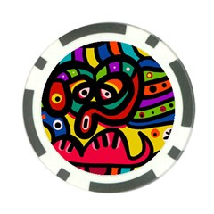 A Seamless Crazy Face Doodle Pattern Poker Chip Card Guard (10 Pack)