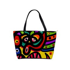 A Seamless Crazy Face Doodle Pattern Shoulder Handbags