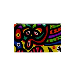 A Seamless Crazy Face Doodle Pattern Cosmetic Bag (small)