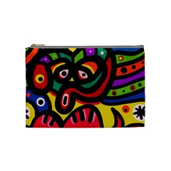 A Seamless Crazy Face Doodle Pattern Cosmetic Bag (medium)