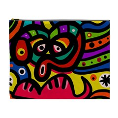 A Seamless Crazy Face Doodle Pattern Cosmetic Bag (xl)