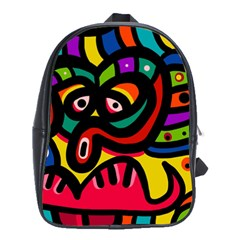 A Seamless Crazy Face Doodle Pattern School Bags(Large)