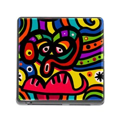 A Seamless Crazy Face Doodle Pattern Memory Card Reader (square)