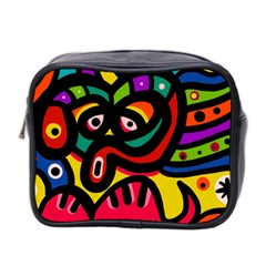 A Seamless Crazy Face Doodle Pattern Mini Toiletries Bag 2-Side