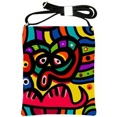 A Seamless Crazy Face Doodle Pattern Shoulder Sling Bags